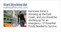 CTRs for my Hurricane Irene Ads on Facebook